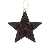 12ct Matte Chocolate Brown Glittered Star Shatterproof Christmas Ornaments 5""