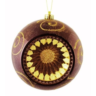 "Mocha Brown Retro Reflector Shatterproof Christmas Ball Ornament 8"" (200mm)"