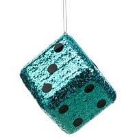 "4"" Casino Royale Shiny Turquoise Blue Glitter Gambling Dice Christmas Ornament"