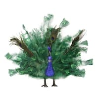 """14"""" Colorful Regal Peacock Bird with Open Tail Feathers Christmas Decoration"""
