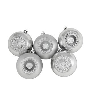 """5ct Shiny and Matte Silver Retro Reflector Shatterproof Christmas Ball Ornaments 3.25"""" (80mm)"""