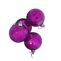 "4ct Purple Mirrored Glass Disco Ball Christmas Ornaments 4"" (100mm)"