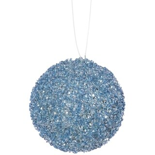 """4ct Baby Blue Sequin and Glitter Drenched Christmas Ball Ornaments 4"""" (100mm)"""