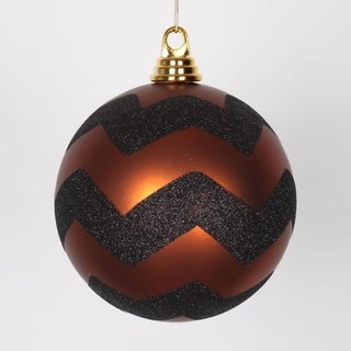 """Copper Matte with Black Glitter Chevron Commercial Size Christmas Ball Ornament 6"""" (150mm)"""