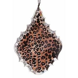 """5.5"""" Diva Safari Glittered Leopard Print Teardrop Prism Christmas Ornament"""