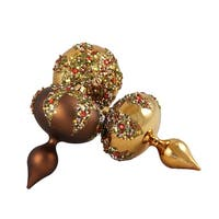 3ct Mocha Brown Glitter Sequin Beaded Shatterproof Christmas Finial Ornaments 5""