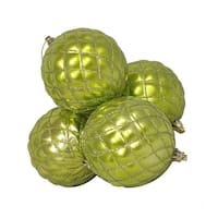 "4ct Shiny Green Kiwi Diamond Design Shatterproof Christmas Ball Ornaments 3.75"""