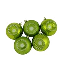"5ct Shiny and Matte Kiwi Green Retro Reflector Shatterproof Christmas Ball Ornaments 3.25"" (80mm)"