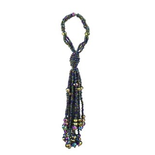 "7"" Regal Peacock Green, Purple and Gold Beaded Ball with Tassels Christmas Ornament"