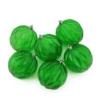 "6ct Green Transparent Rhombus Cut Shatterproof Christmas Ball Ornaments 3"""