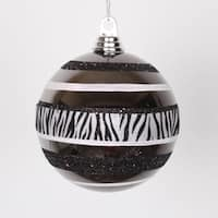 Diva Safari Zebra Print & Stripes Black and White Commercial Size Christmas Ball Ornament 5.5""