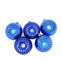 "5ct Shiny and Matte Lavish Blue Retro Reflector Shatterproof Christmas Ball Ornaments 3.25"" (80mm)"