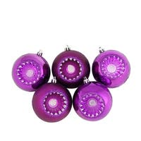 "5ct Shiny and Matte Pink Magenta Retro Reflector Shatterproof Christmas Ball Ornaments 3.25"" (80mm)"