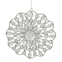 "4.5"" Silver Jeweled Rhinestone Medallion Christmas Ornament"
