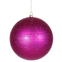 "Cerise Pink Glitter Striped Shatterproof Christmas Ball Ornament 4.75"" (120mm)"