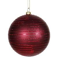 "Burgundy Glitter Striped Shatterproof Christmas Ball Ornament 4"" (100mm)"