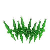 "8ct Green Transparent Finial Shatterproof Christmas Ornaments 5.25"""