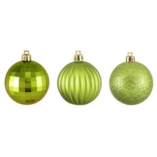"100ct Green Kiwi 3-Finish Shatterproof Christmas Ball Ornaments 2.5"" (60mm)"