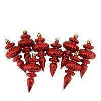 8ct Shiny Red Hot Swirl Shatterproof Christmas Finial Ornaments 4.25""