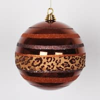 "Diva Safari Cheetah Print & Stripes Copper and Coffee Commercial Christmas Ball Ornament 8"" (200mm)"