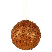 "Fancy Orange Holographic Glitter Drenched Christmas Ball Ornament 4"" (100mm)"