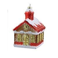 "3.5"" Glitter Snow-covered Log Cabin Shatterproof Christmas Ornament"