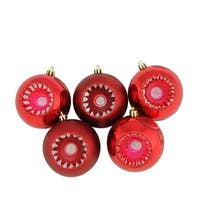 "5ct Shiny and Matte Red Hot Retro Reflector Shatterproof Christmas Ball Ornaments 3.25"" (80mm)"