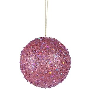 """Fancy Carnation Pink Holographic Glitter Drenched Christmas Ball Ornament 4"""""""