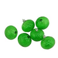 "6ct Green Transparent Shatterproof Hammered Disco Ball Christmas Ornaments 2.5"" (60mm)"