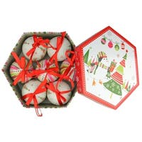 7-Piece Whimsical Red, White and Green Decoupage Shatterproof Christmas Ball Ornament Set 2.75""