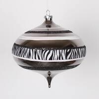 """Diva Safari Zebra Print & Stripes Black and White Commercial Christmas Onion Ornament 8"""" (200mm)"""