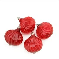 4ct Red Transparent Onion Drop Shatterproof Christmas Ornaments 4.5""