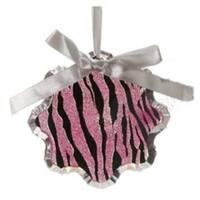 "4.5"" Glittered Magenta Pink Zebra Print Snowflake Prism Christmas Ornament"