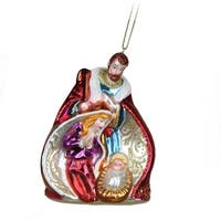 "4.75"" Christmas Traditions Religious Glass Holy Family Ornament"