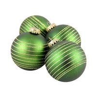 "4ct Green and Gold Pinstripe Shatterproof Christmas Ball Ornaments 2.75"" (70mm)"