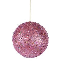 Fancy Carnation Pink Holographic Glitter Drenched Christmas Ball Ornament 4.75""