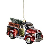 """5.25"""" Multi-Color Glittered Glass Truck with Tree Christmas Ornament"""