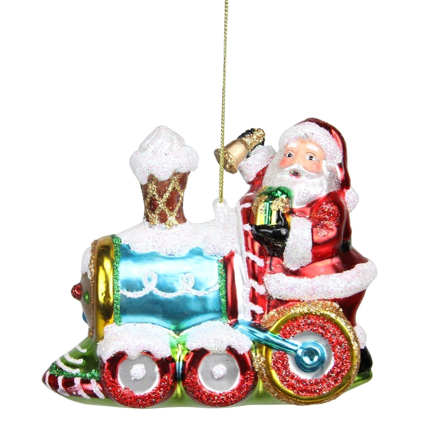 "5"" Glass Santa Claus on Holiday Train Decorative Christma..."