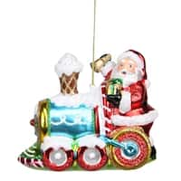 "5"" Glass Santa Claus on Holiday Train Decorative Christmas Ornament"