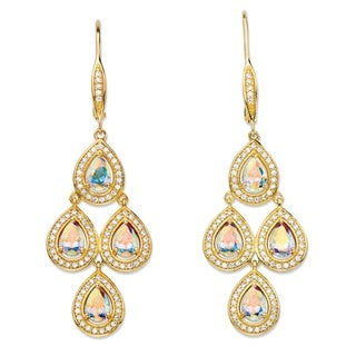4.74 Tcw Pear-Cut Aurora Borealis Cubic Zirconia Halo Chandelier Earrings Gla