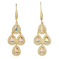 Yellow Gold-Plated Pear Cut Chandelier Earrings Cubic Zirconia (4 3/4 cttw TDW)