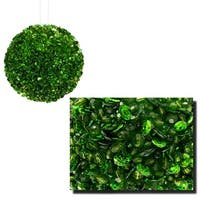 "Lavish Green Fully Sequined & Beaded Christmas Ball Ornament 4.25"" (110mm)"