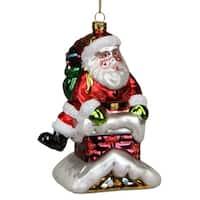 "5"" Glass Santa in Chimney Decorative Christmas Ornament"