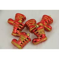 """Pack of 6 Red Shiny Shatterproof Glitter Boot Christmas Ornaments 2"""""""