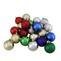 "32ct Shatterproof Traditional Multi-Color Shiny & Matte Christmas Ball Ornaments 3.25"" (80mm)"
