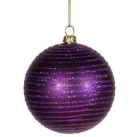 "Purple Passion Glitter Striped Shatterproof Christmas Ball Ornament 3"" (75mm)"