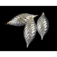3ct Clear Spiral Finial Shatterproof Christmas Ornaments with Gold Speckles