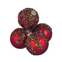 "4ct Red Glitter Sequin Beaded Shatterproof Christmas Ball Ornaments 3.25"" (80mm)"