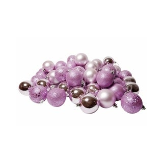 "60ct Pink Lavender Shatterproof 4-Finish Christmas Ball Ornaments 2.5"" (60mm)"