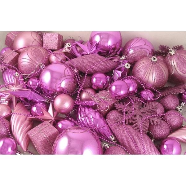 125 piece club pack of shatterproof bubblegum pink christmas ornaments - Pink Christmas Ornaments